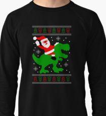 Ugly Christmas Sweater Dinosaur Santa Riding T Rex