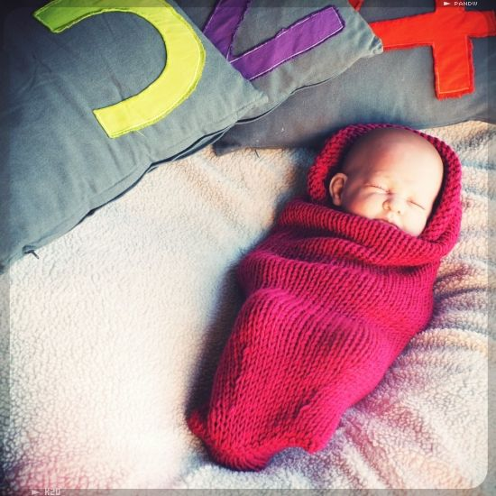 Colorful Loom Knit Baby Cocoon Pattern Image Knitting Pattern