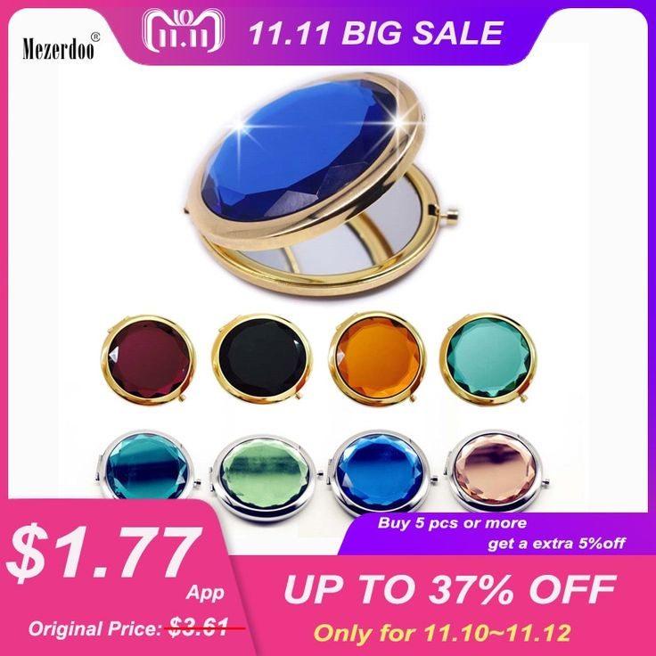 1Pc Luxury Crystal Makeup Mirror Portable Round Folded Compact Mirrors Gold Silver Pocket Mirror Making Up for Personalized Gift