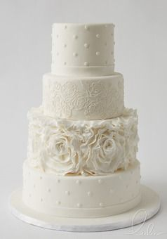 Beautiful white on white lace wedding cake w with edible floral rosettes by Lulu Cake Boutique  www.everythinglulu.com