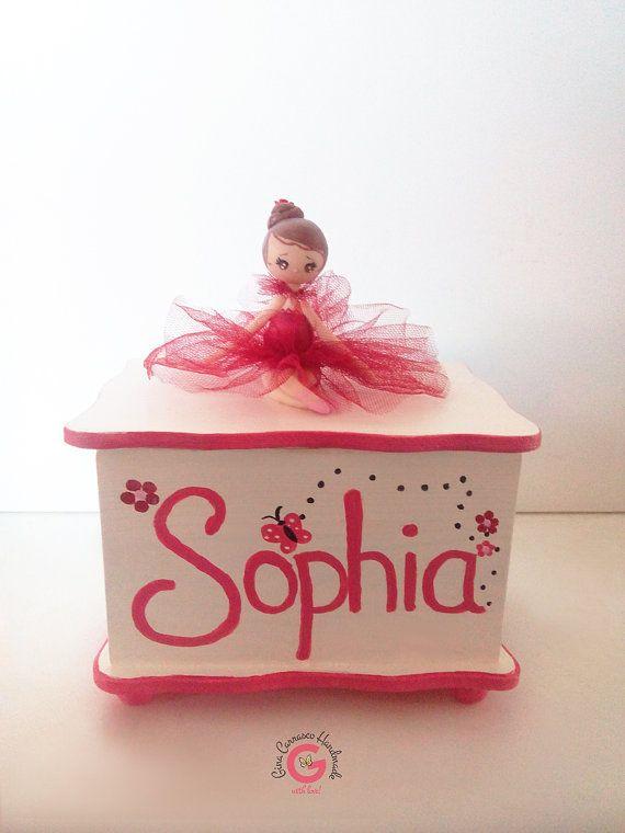 Handpainted jewelry box, ballerina jewelry box, handmade treasure box, girls keepsake box, children's decor, ballerina gift, Birthday gift