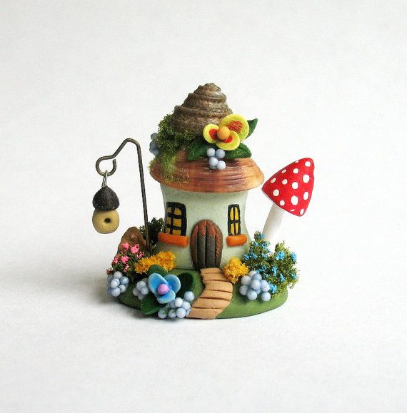 Miniature  Fairy Hobbit Dwelling with Birdhouse by ArtisticSpirit