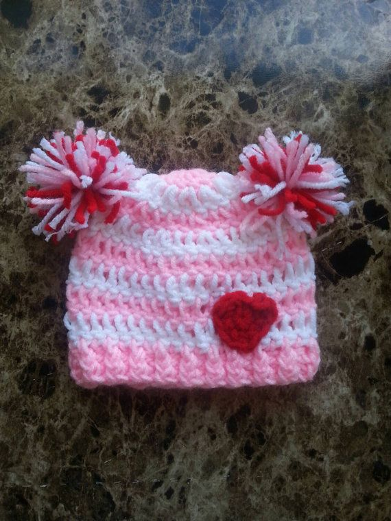 Crochet Valentine Hat Crochet Valentine's Day by HaywardCrochet