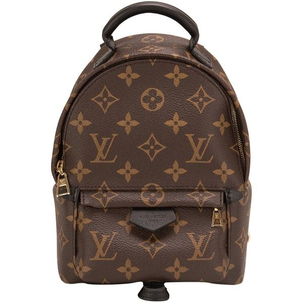 Pre-Owned Louis Vuitton Palm Springs Backpack Mini ($2,650) ❤ liked on Polyvore featuring bags, backpacks, brown, leather rucksack, real leather backpack, monogrammed backpacks, louis vuitton backpack and colorful backpacks