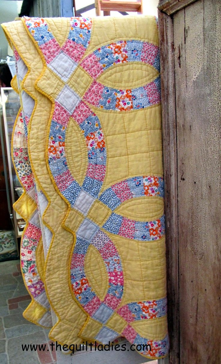 Yellow Double Wedding Ring Quilt - www,shop,thequiltladies.com