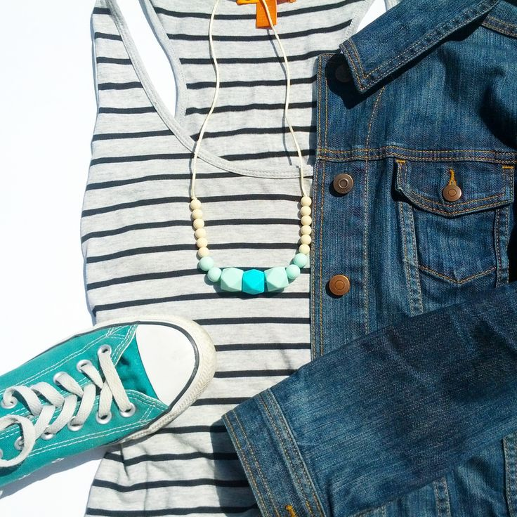 Best basics: stripes, fun necklace, jean jacket & chucks.  Necklace via ~mintmommas.com~   #mintmommas #ootd #converse #stripes #siliconenecklace