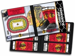Chicago Blackhawks Ticket Album. The Ticket Album is a photo album for your tickets and allows you to create a table-top display that will keep the memories of the games you've attended as fresh as the day you were there. Also makes an ideal item to present tickets as a gift. (Tickets shown not included.)