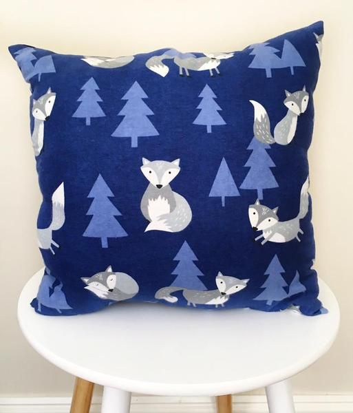 F O X  Blue Woodland Decorative Pillow Navy blue fleece and mauve, grey and white fox, plain navy on reverse side46 x 46cmBeautiful nursery decor and little boys room decoration