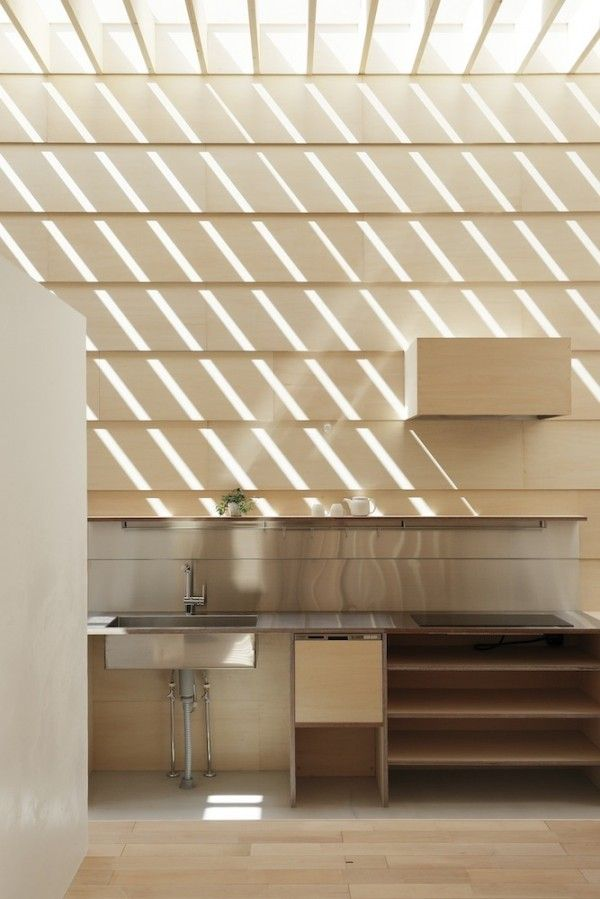 SLATTED CEILING UNDER SKYLIGHT / OPEN TO SKY ABOVE