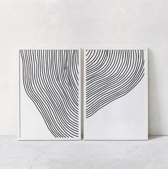 Black White Abstract Printable Art Set Of 2 Abstract Art Print Line Drawing Modern Minimal Art Contemporary Art Digital Downloadable Art Abstract Line Art Minimalist Art Abstract Black and white abstract drawings