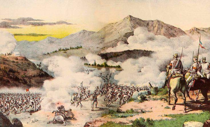 Batalla de Concón, Chile. 21 de agosto de 1891. Las tropas revolucionarias cruzan el rio Aconcagua.