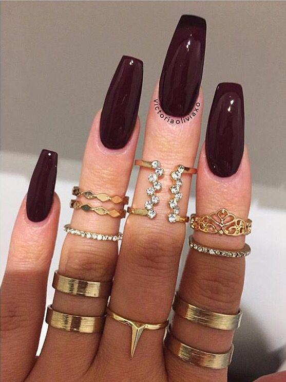 Dark long coffin nails!!