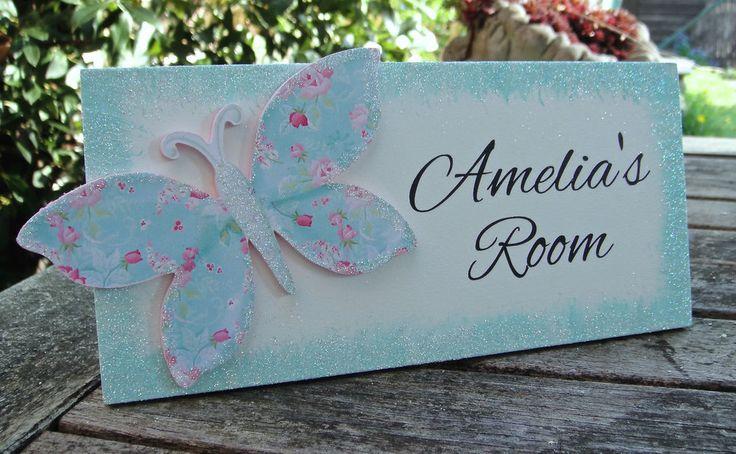 Personalised Butterfly Name Plaque Door Sign Children s