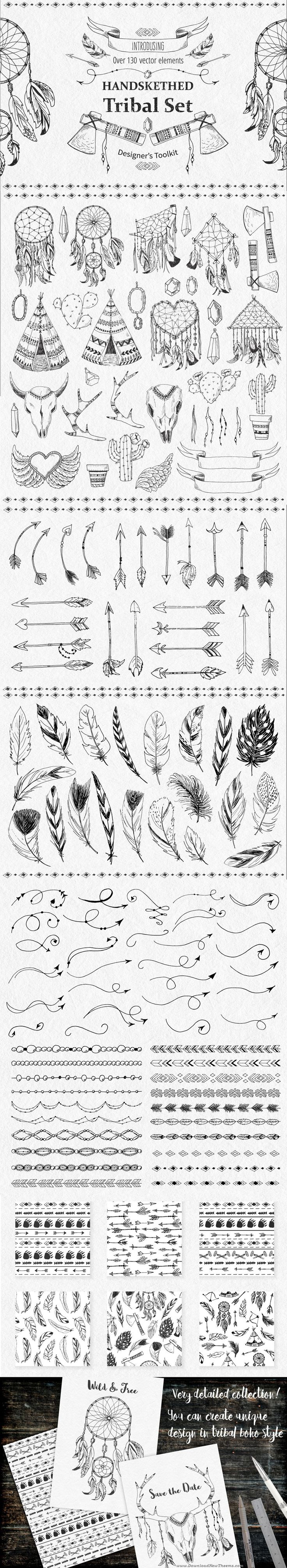 Tribal Design Vector Set > This big set of #tribal ethnic #design elements includes #handdrawn dream catchers, tipi, axes, bulls, deer, antlers, feathers, arrows, text dividers, #borders and other native elements. All this elements drawn by hand and then converted to #vector objects. #graphicsdesign