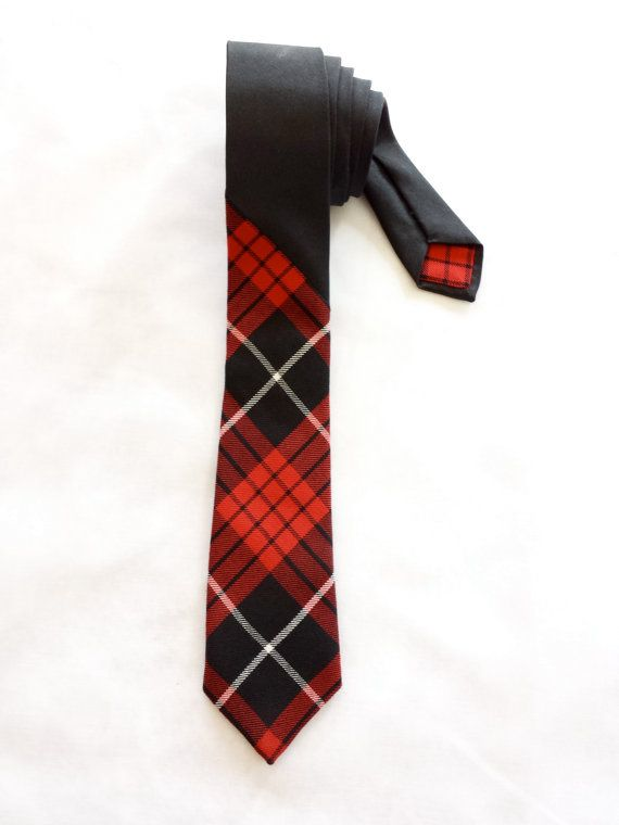 Red & Black Plaid  Tie by WatfordTies on Etsy