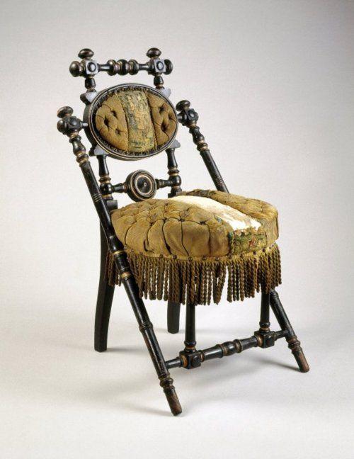 sedia 1869 (85x50x57 legno ebanizzato, tessuto imbottito) George Jacob Hunzinger (Tuttingen, Germania 1835 - USA 1898)