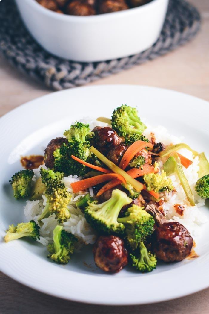 Teriyaki kødboller med lynstegte grøntsager