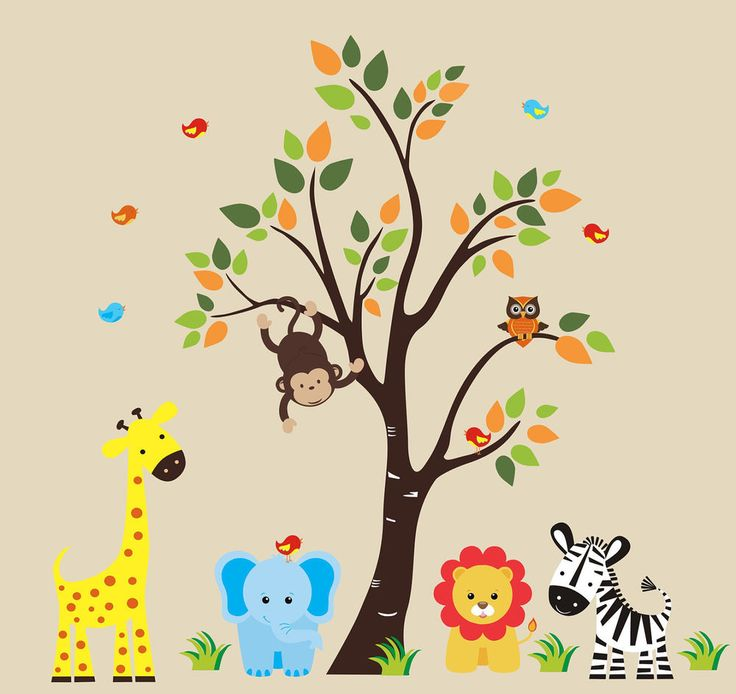 "Safari Animals Nature Removable Reusable Wall Decals Baby Nursery Art 83"" x 97"""