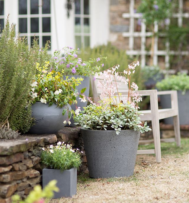 Fiber stone #planters to weather the seasons at #shopterrain April 3