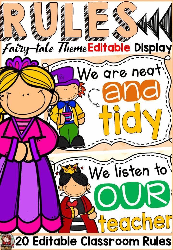 Fairytale class decor: editable classroom rules posters