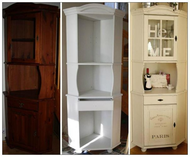 Beautiful makeover on a corner cabinet