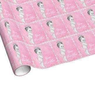 Sweet Pink Princess Gift Wrap #princess #babyshower