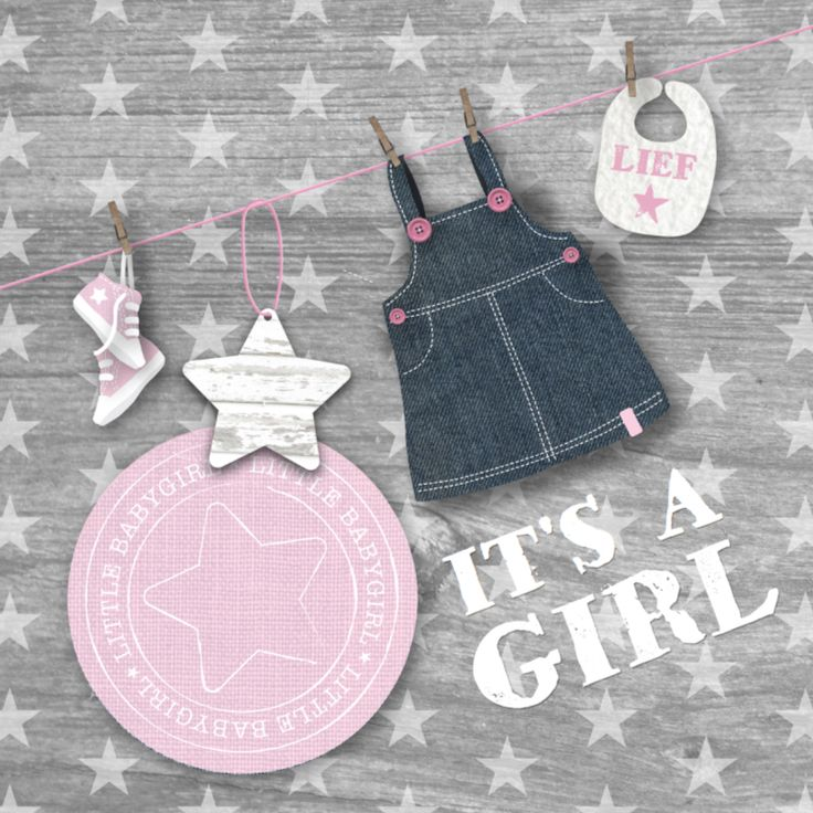 Een leuke, lieve feliciatiekaart met waslijn, sterren en houtprint voor de geboorte van een meisje. De meeste tekst is zelf aan te passen.