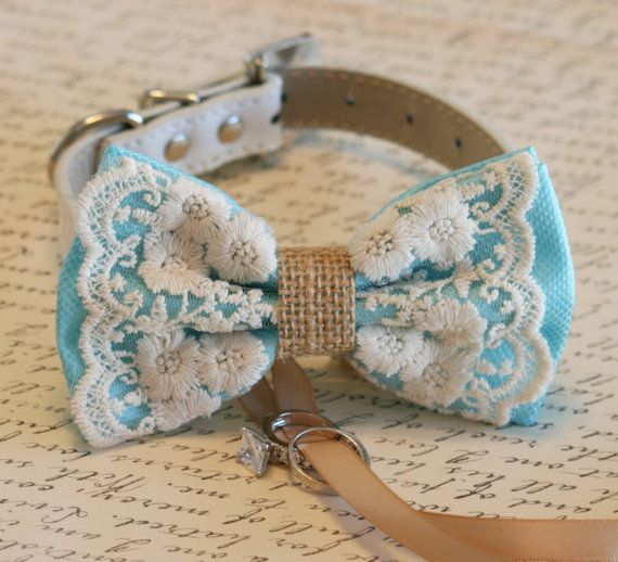 Lace Dog Bow Tie, Lace and Burlap, Dog ring bearer, Vintage wedding, Rustic, Bohemian, Proposal idea, Some thing blue    • Collar Material: Leather  •