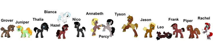 PJO and HoO characters My Little Pony style. Look at the adorable Percabeth ponies and look at how cute Leo is! Oh my gosh I love whoever made this! :DD