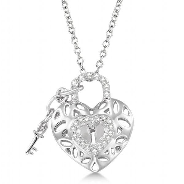 175 best diamond necklaces pendants images on pinterest diamond heart key and lock pendant necklace sterling silver 016ct allurez mozeypictures Images