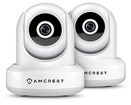 2-Pack Amcrest ProHD 1080P WiFi/Wireless IP Security Camera IP2M-841 Pan/Tilt, 2-Way Audio, Optional Cloud Recording, Full HD 1080P 2MP, Super Wide 90آ° Viewing Angle, Night Vision (White)
