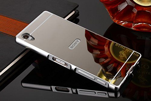 "For 5.5"" Sony Xperia Z5 Premium Case, Popsky [Metal Frame] [4 Colors] Mirror Back Premium Aluminum Bumper Case Cover with Push-Pull Frame (Silver)"