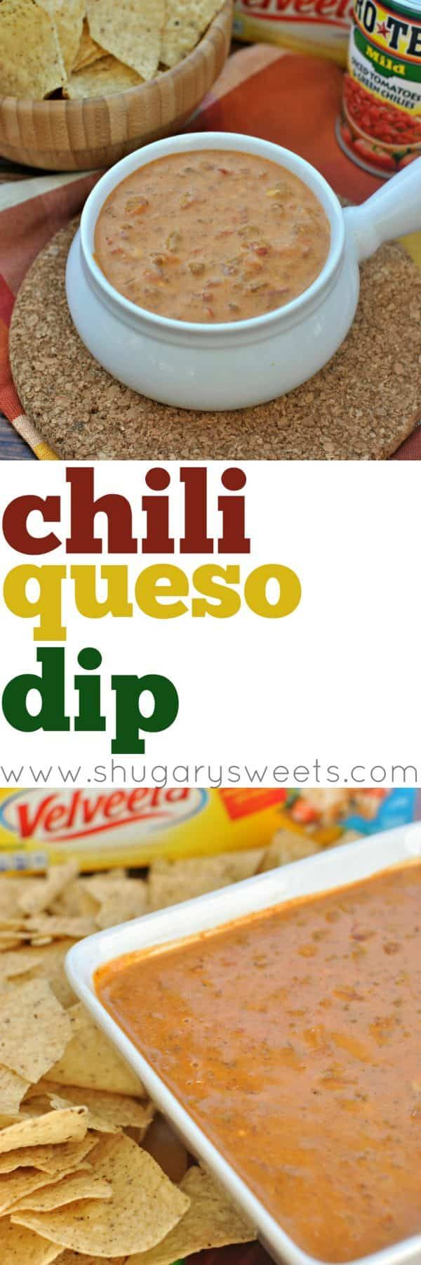 Chili Queso Dip Recipe using Velveeta and RoTel tomatoes. Perfect for your next tailgating party!