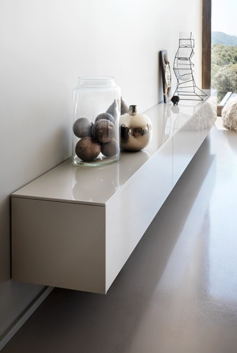 wall hung storage in high gloss white...chic...sleek...