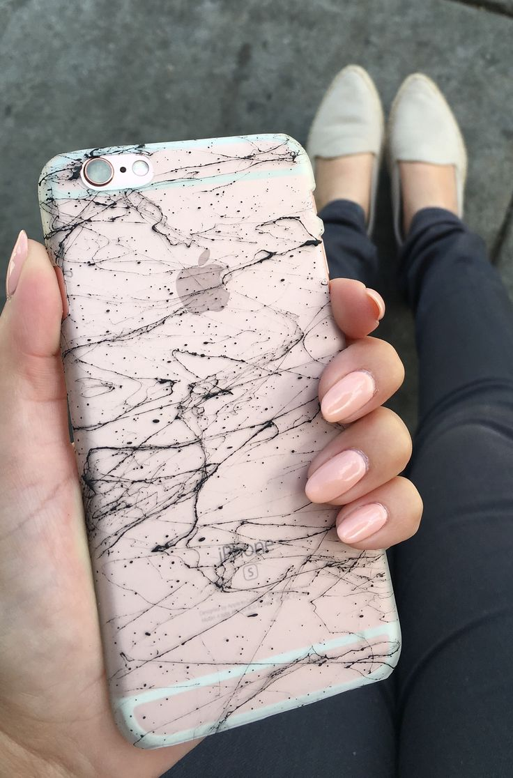 Marble Case for iPhone 6/6s & 6 Plus 6s Plus from Elemental Cases on a Rose Gold 6s with matching nails
