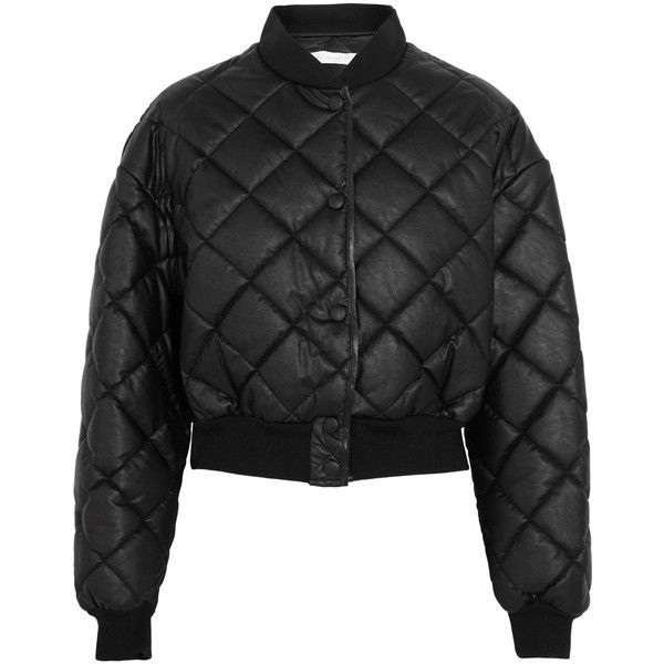 STELLA McCARTNEY   Marisa cropped quilted faux leather bomber jacket (2982920 PYG) ❤ liked on Polyvore featuring outerwear, jackets, faux-leather jacket, vegan bomber jacket, quilted faux leather jacket, cropped jacket and snap jacket