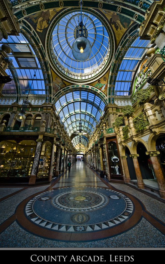 County Arcade, Leeds, UK. Leeds has some of the finest examples of Victorian era shopping arcades in the world. They are essentially the forerunner to the shopping centers that are seen all over the world today.