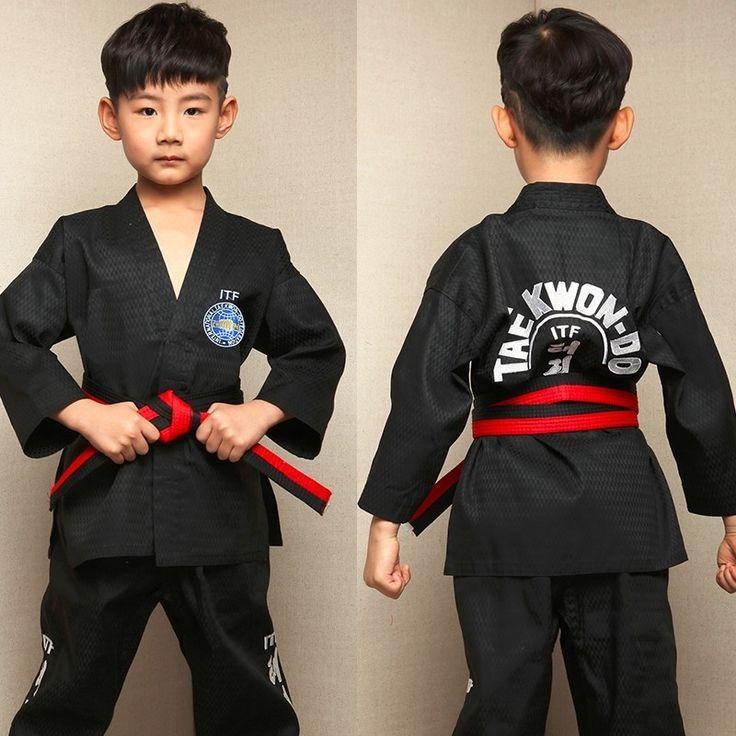 ==> [Free Shipping] Buy Best Kids Taekwondo Dobok TKD Cotton & Bamboo Fiber Uniform WTF Series Of Children Black White Online with LOWEST Price | 32813836120