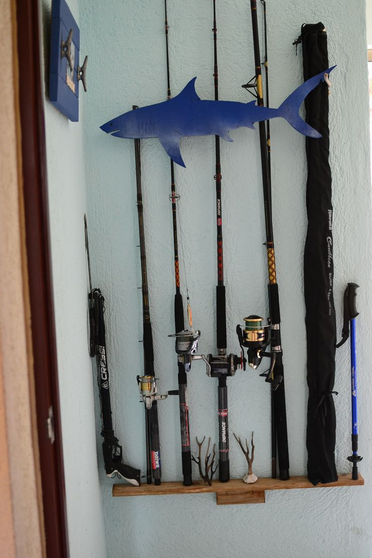 fishing rod storage...Shark. Rustic simple decor. Beach house.  Nautical style. Coastal living. Vintage apartment. Storage, holder, speargun