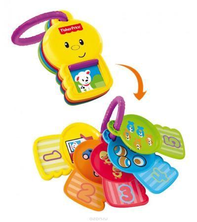"""Fisher-Price Newborn Ключики Считай и познавай  — 570р. -------- Яркие ключики Fisher-Price """"Считай и познавай"""" не оставит вашего малыша равнодушным и не позволит ему скучать! Игрушка выполнена из прочного безопасного пластика и представляет собой кольцо, на которое нанизаны пять ключиков разных цветов. На каждом из них изображена цифра и разные предметы, количество которых соответствует цифре на ключе. На ключике с цифрой 1 имеется окошко, под которым скрывается симпатичный щенок. Малыш…"""