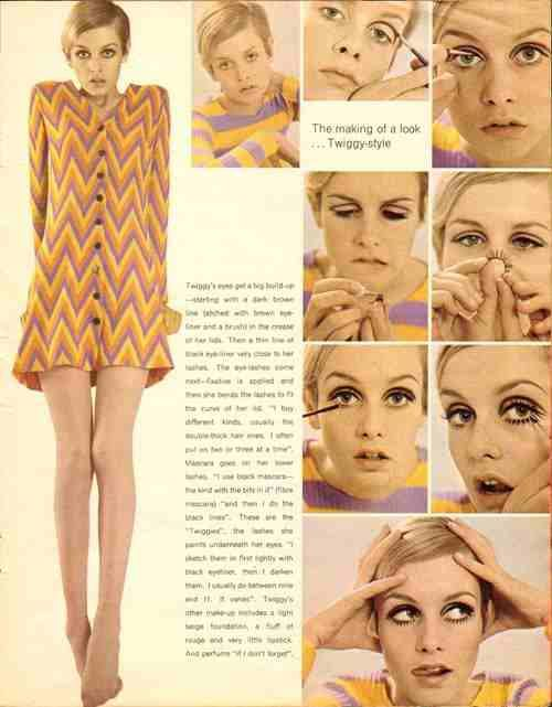 Twiggy in Mod style showing how to create her signature makeup.