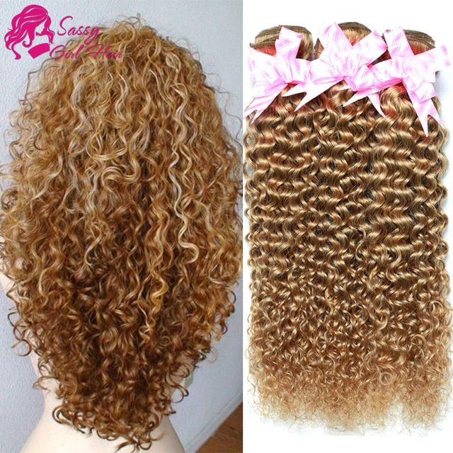 7a Brésilienne Crépus Bouclés Vierge Cheveux Pas Cher Crépus Bouclés Vierge cheveux 3 Pièce 27 Miel Blonde Brésilienne Cheveux Weave Extension 100g