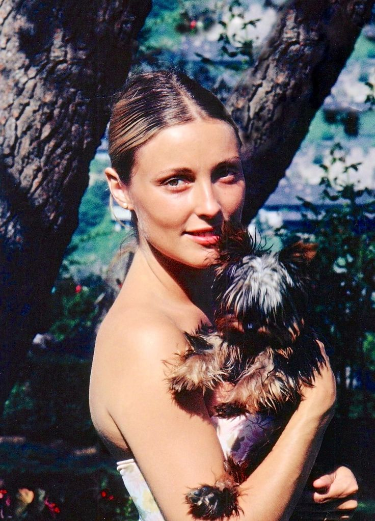 Sharon Tate with her dog Prudence at her Cielo Drive home in early August of 1969