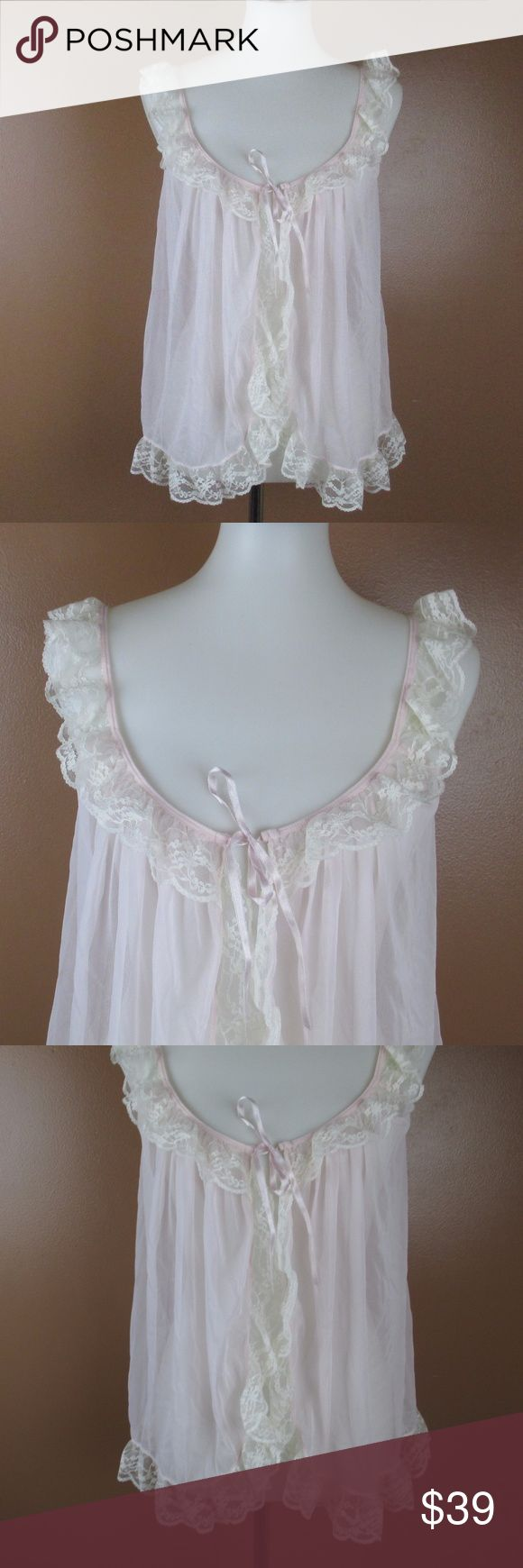 NWOT Victoria's Secret Chemise Small Lace Pink Victoria's Secret lingerie chemise night gown New without tags Sheer with lace trimming The center is open and it ties at the top Pink and creme color This is a small but will definitely fit a medium since its an open style chemise Length from should to bottom lace trimming is 25 inches  OFFERS ACCEPTED  Add to a bundle for an automatic discount   Colors may very due to lighting, seller does its best to portray the right color. Please inspect…