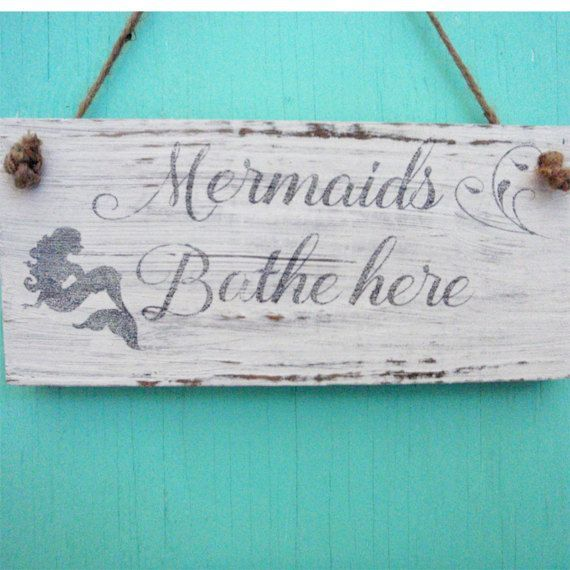 This beach sign features a mermaid and a beautiful scroll font. This Mermaid bathroom sign was created from driftwood we collected near our home and would look perfect in that beach bathroom. This sign would also make a great housewarming gift.