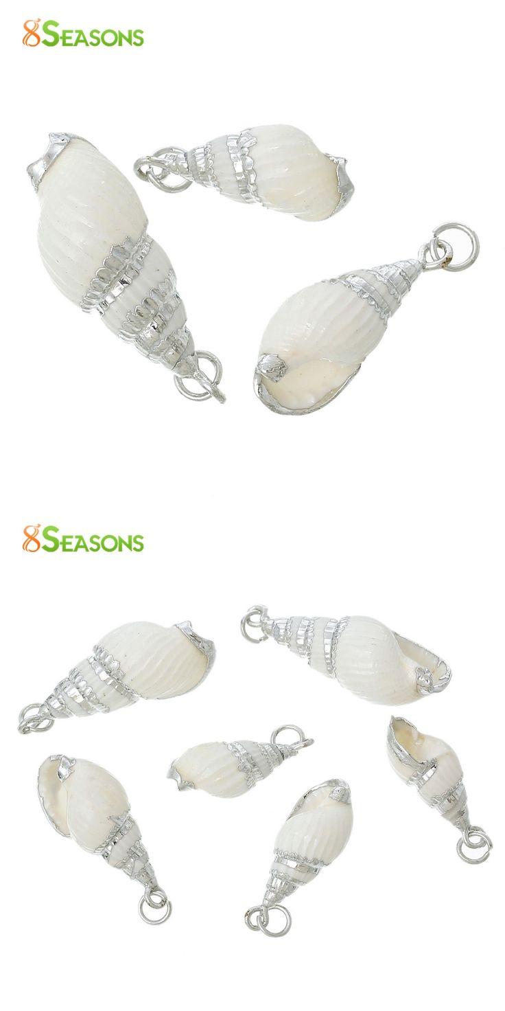 """8SEASONS Shell Charm Pendants Conch Natural Silver color 3.5cm x1.4cm(1 3/8"""" x 4/8"""") - 2.5cm x0.9cm(1"""" x 3/8""""),5 Pcs"""