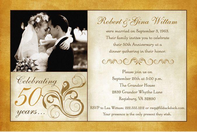 50th wedding anniversary logos | Fashionable 50th Anniversary Photo Invitation - Personalized Wedding