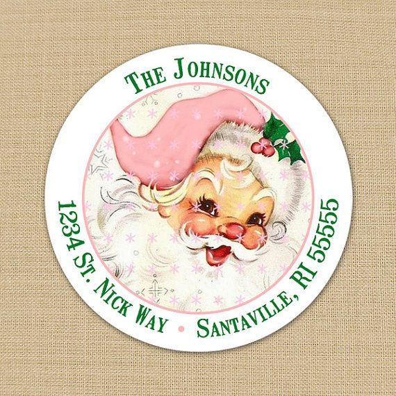 Vintage Pink Santa Claus - CUSTOM Christmas Address Labels or Stickers by PoshGirlBoutique