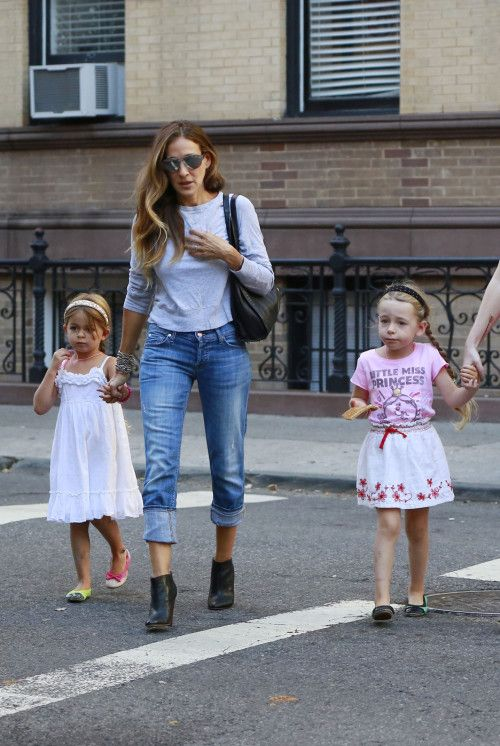 Sarah Jessica Parker walks kids Marion and Tabitha to school in West Village, NYC