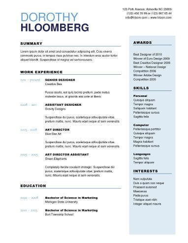 2 Column | Microsoft word resume template, Resume template ...